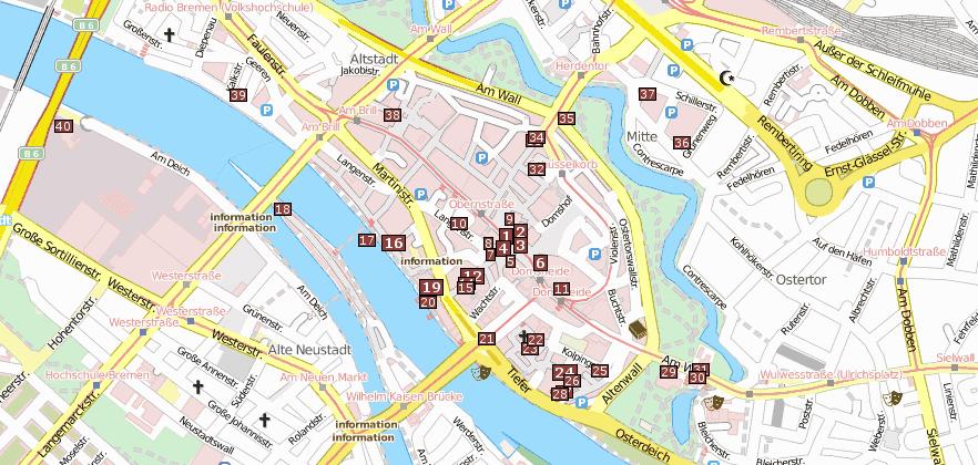 sehenswürdigkeiten bremen karte Bremen Reiseführer   Bilder mit Stadtplan mit Reiseführer Bremen
